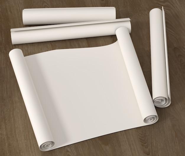 Zet pure lege rol tekenpapier op een houten oppervlak. 3d illustratie