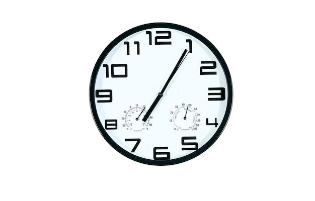 Zeven uur op de witte wandklokken (geïsoleerd)