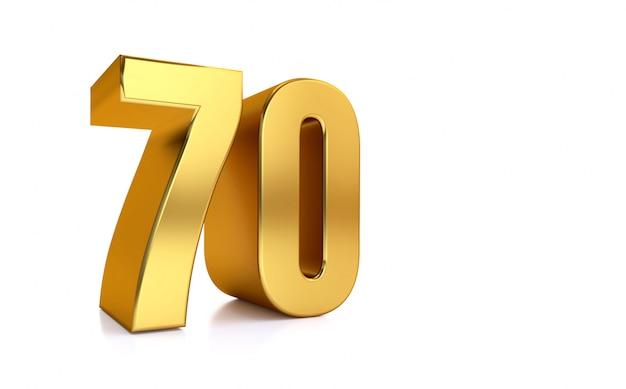 Zeventig, 3d illustratie gouden nummer 70 op witte achtergrond en kopieer de ruimte aan de rechterkant voor tekst, het beste voor verjaardag, verjaardag, nieuwe jaarviering.