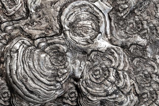 Zicht op de cirkelvormige textuur van het gezaagde hout.