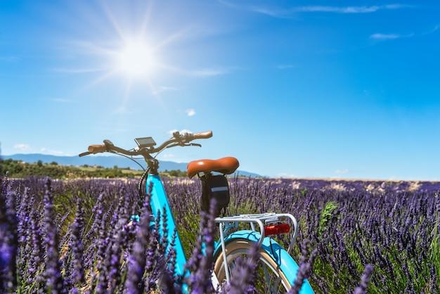 Zicht op een fiets midden in een lavendelveld met zonlicht van voren