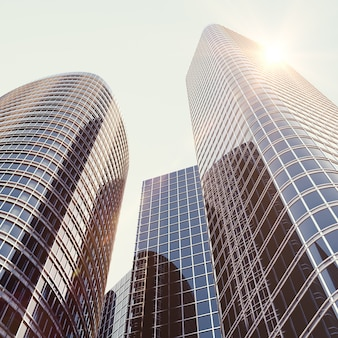 Zicht op het glazen gebouw, hoogbouw