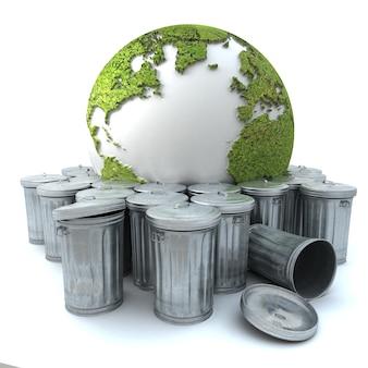 Zieke aarde in de vuilnisbak