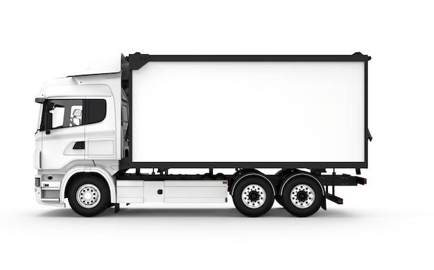 Zij witte vrachtwagen geïsoleerd