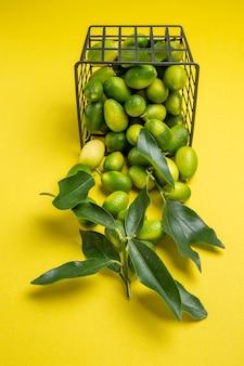 Zijaanzicht citrusvruchtenmand van de smakelijke groene citrusvruchten met bladeren