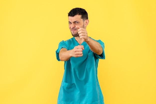 Zijaanzicht een dokter een dokter praat over slechte gewoonten van mensen
