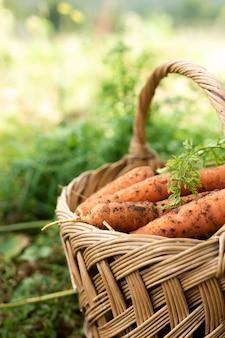 Zijaanzicht mand vol met wortelen
