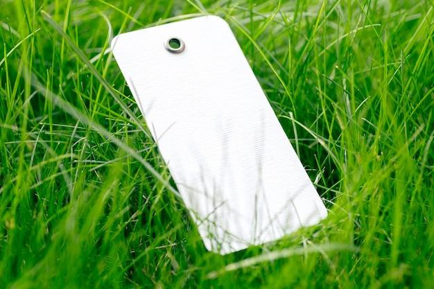 Zijaanzicht op witte kartonnen lege geïsoleerde tag met plaats voor logo op heldergroen gras van gazon, concept van milieuvriendelijkheid en organische stoffen.