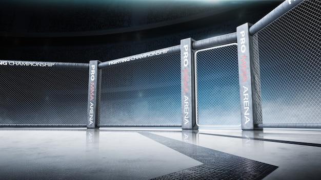 Zijaanzicht van de scène onder verlichting. vechtkampioenschap. vecht tegen de nacht. mma achthoek. 3d-weergave