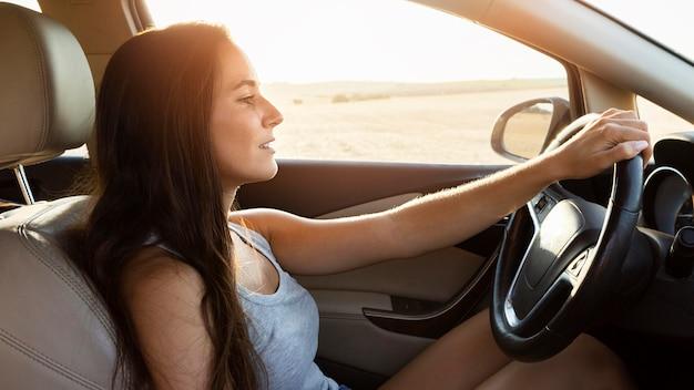 Zijaanzicht van de vrouw in de auto op natuuravontuur