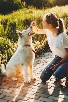 Zijaanzicht van de vrouw in vrijetijdskleding die beloningen geeft aan zittende hond bij opleiding in park op verlichte achtergrond