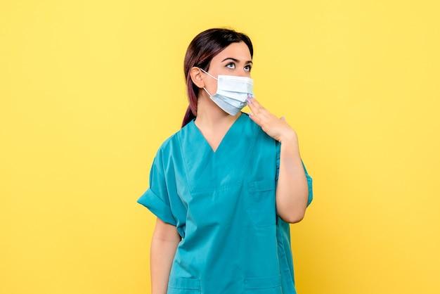 Zijaanzicht van een arts in masker denkt over medische maskers