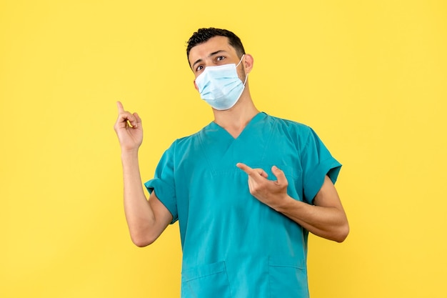 Zijaanzicht van een arts met het masker in het medische uniform wijst naar de zijkant