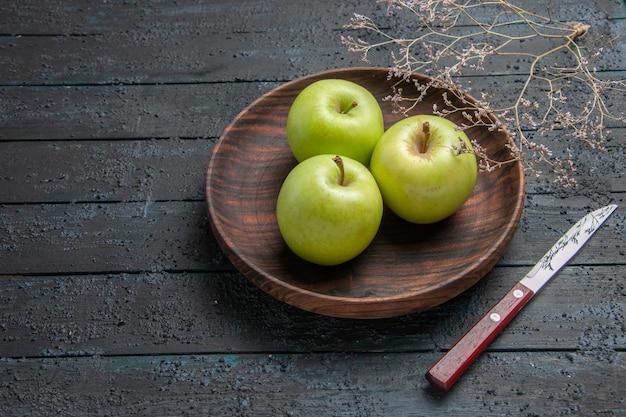Zijaanzicht van een bord met appels in de verte bruin bord met smakelijke appels op een donkere achtergrond naast boomtakken en mes