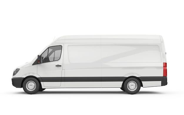 Zijaanzicht van een busje, mockup, 3d illustratie