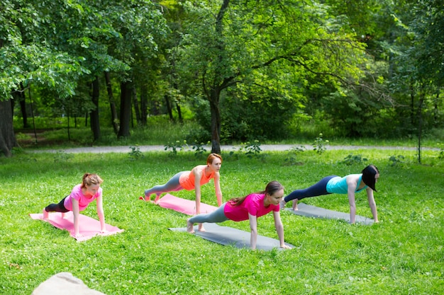 Zijaanzicht van een groep geschiktheidsmensen die opdrukoefeningen in het park doen
