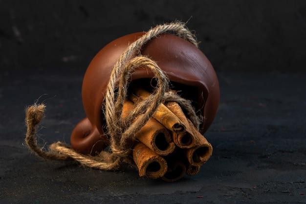 Zijaanzicht van kaneelstokjes vastgebonden met een touw op zwart