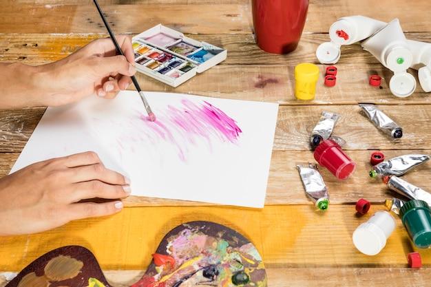 Zijaanzicht van kunstenaar die verfborstel op papier gebruiken