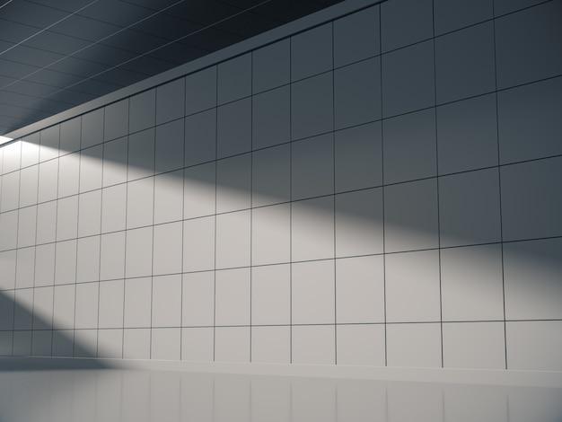 Zijaanzicht van lege witte ruimte voor product show met zijverlichting