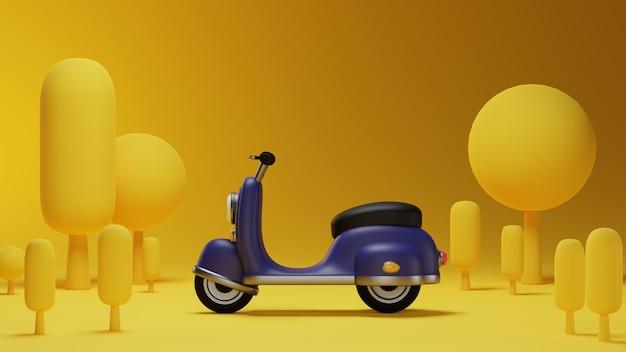 Zijaanzicht van paarse klassieke scooter met omgeving en gele achtergrond in 3d-ontwerp
