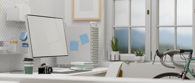 Zijaanzicht van thuiskantoorruimte met computerapparatuur en fiets in de kamer 3d-rendering