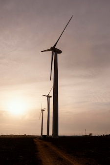 Zijaanzicht van windturbines die bij zonsondergang energie opwekken