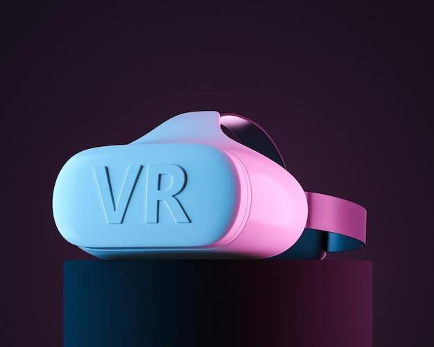 Zijaanzicht van witte vr-headset met logotekst in de zwarte studio met blauw en roze neonlicht. 3d-rendering illustratie.