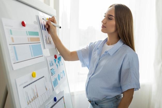 Zijaanzicht van zwangere onderneemster met whiteboard die presentatie geeft