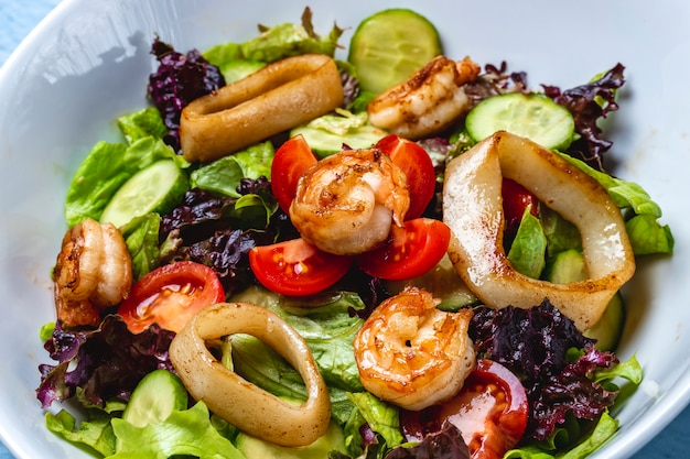 Zijaanzicht zeevruchten salade gegrilde calamares en garnalen met sla, verse tomaat en komkommer op een plaat