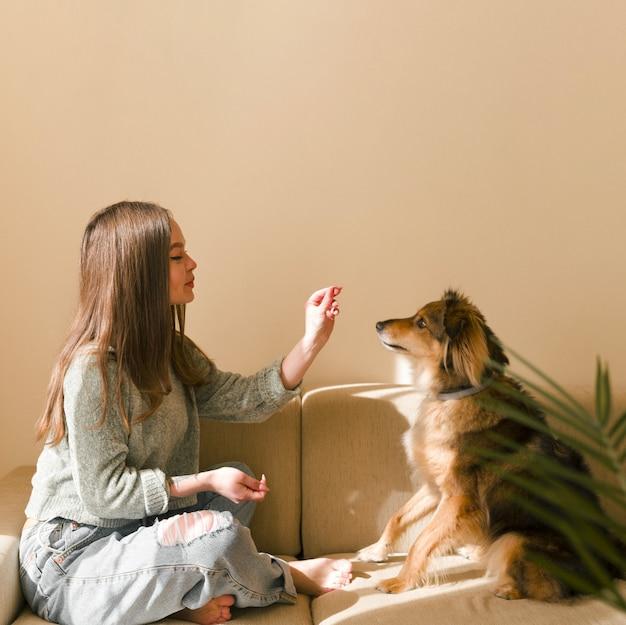 Zijaanzichtmeisje die haar hond thuis opleidingslessen voor huisdieren opleiden