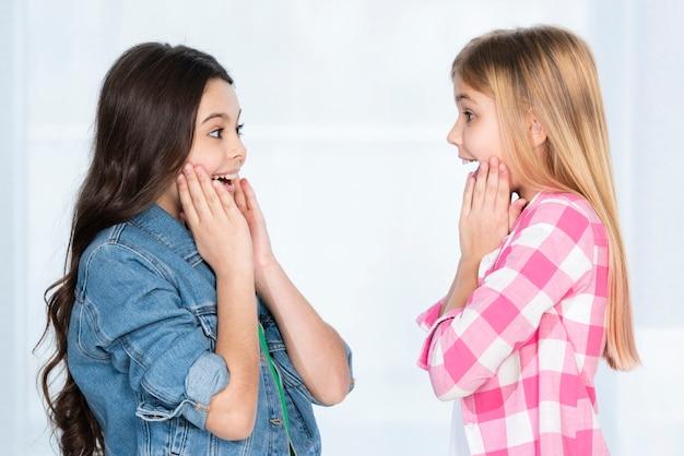Zijaanzichtmeisjes die elkaar bekijken