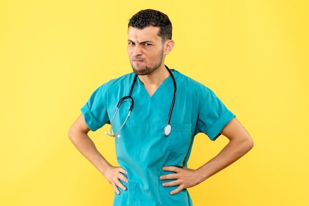 Zijaanzichtspecialist de dokter is boos op mensen die geen sociale afstand bewaren