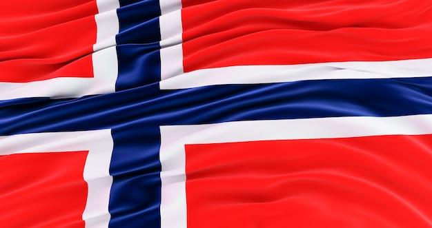 Zijde nationale vlag van noorwegen met de plooien. realistische vlag. noorse vlag waait in de wind. 3d render