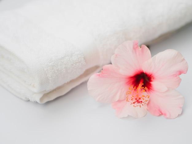 Zijwaarts van bloem naast handdoek