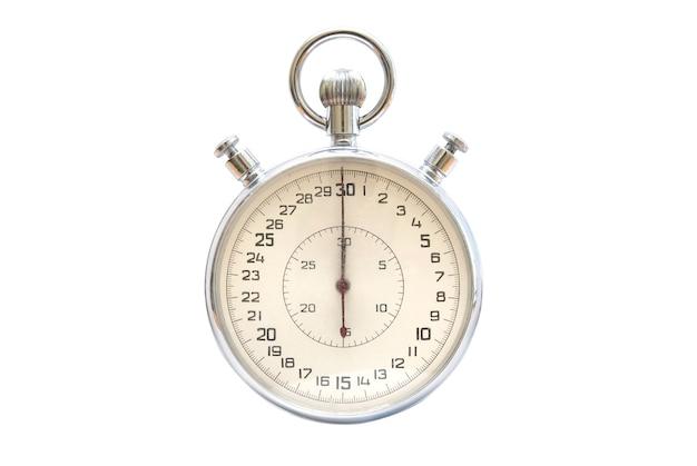 Zilver metalen stopwatch geïsoleerd op een witte achtergrond