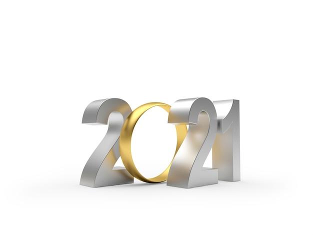 Zilver nummer 2021 met gouden trouwring