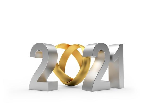 Zilver nummer 2021 met twee gouden trouwringen