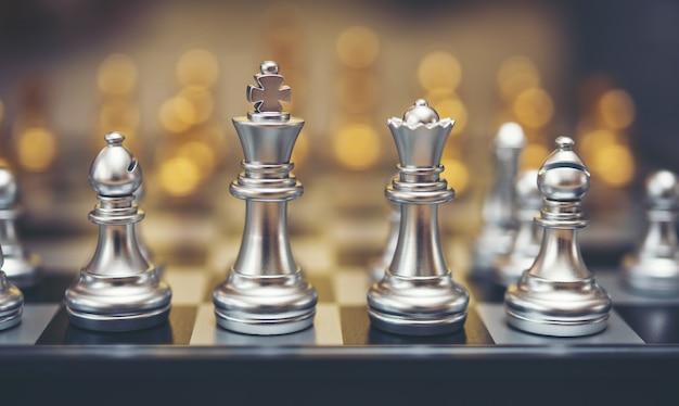 Zilver schaakspel.