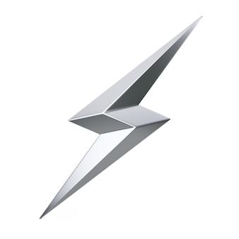 Zilver thunderbolt verlichting pictogram op een witte achtergrond. 3d-rendering