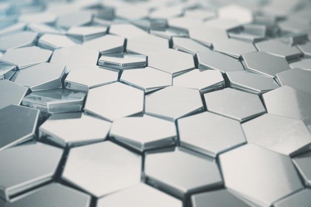 Zilveren abstracte zeshoekige achtergrond met scherptediepte-effect. structuur van een groot aantal zeshoeken. de muurtextuur van de staalhoningraat, glanzende hexagon clustersachtergrond, het 3d teruggeven