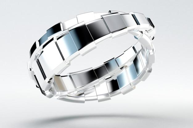 Zilveren armband. 3d-afbeelding, 3d-rendering.