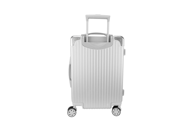 Zilveren bagagezak met exemplaarruimte die op wit wordt geïsoleerd