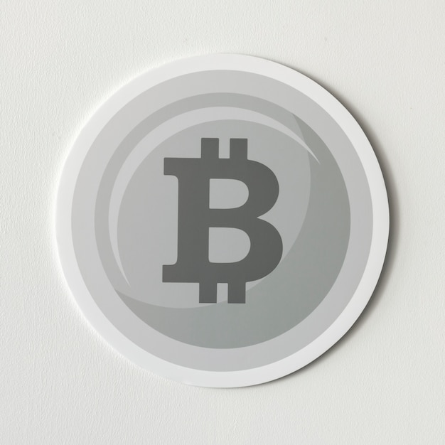 Zilveren bitcoin cryptocurrency pictogram geïsoleerd
