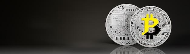 Zilveren bitcoin geïsoleerd op zwart