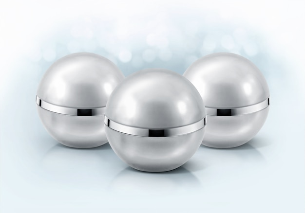 Zilveren bol cosmetische potten