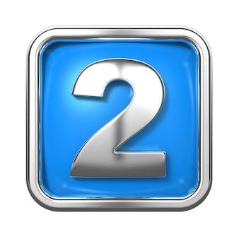 Zilveren cijfers in frame, op blauwe achtergrond. nummer 2