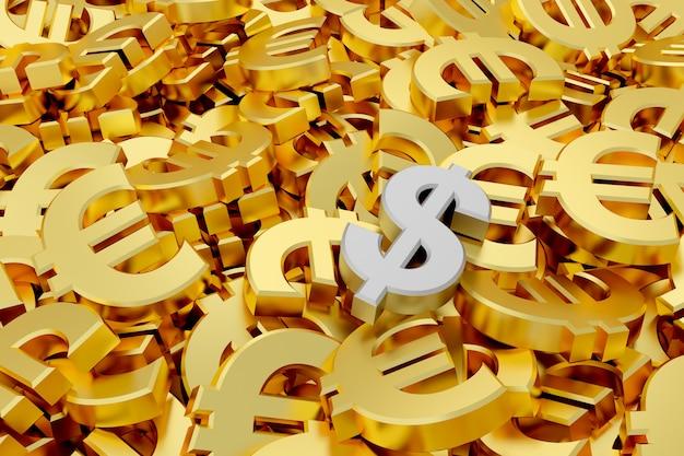 Zilveren dollarteken te midden van gouden euro tekens. 3d-weergave