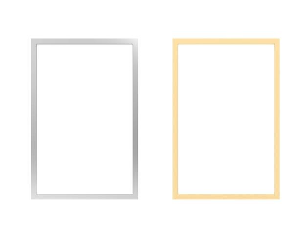 Zilveren en gouden fotolijsten geïsoleerd op wit