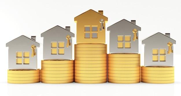 Zilveren en gouden huizen op stapels munten