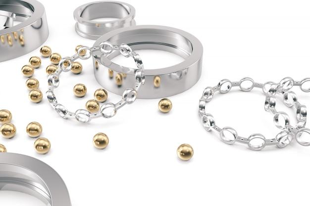 Zilveren en gouden kogellagers op een wit.